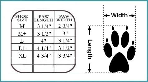 Pawtrexx Size Chart